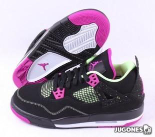 Nike Air Jordan 4 Retro PS - Black Fuchsia Flash Lime